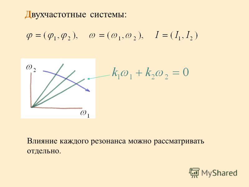 Двухчастотные системы: Влияние каждого резонанса можно рассматривать отдельно.