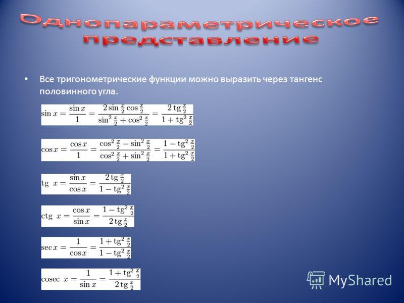 Все тригонометрические функции можно выразить через тангенс половинного угла.