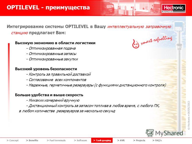 © Hectronic 08/05/2013 OPTILEVEL - преимущества Интегрирование системы OPTILEVEL в Вашу интеллектуальную заправочную станцию предлагает Вам: Высокую экономию в области логистики - Оптимизированная подача - Оптимизированные запасы - Оптимизированные з