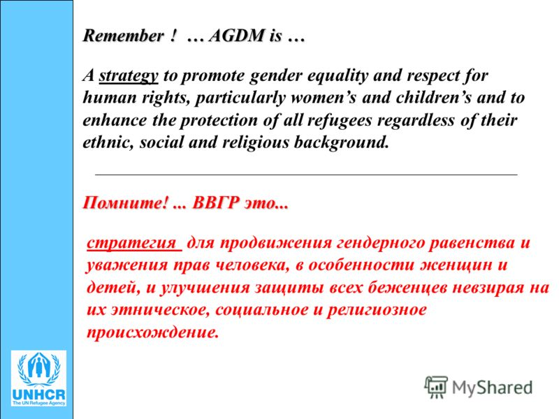 Remember ! … AGDM is … A strategy to promote gender equality and respect for human rights, particularly womens and childrens and to enhance the protection of all refugees regardless of their ethnic, social and religious background. Помните!... ВВГР э