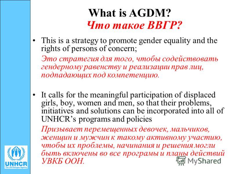 What is AGDM? Что такое ВВГР? This is a strategy to promote gender equality and the rights of persons of concern; Это стратегия для того, чтобы содействовать гендерному равенству и реализации прав лиц, подпадающих под компетенцию. It calls for the me