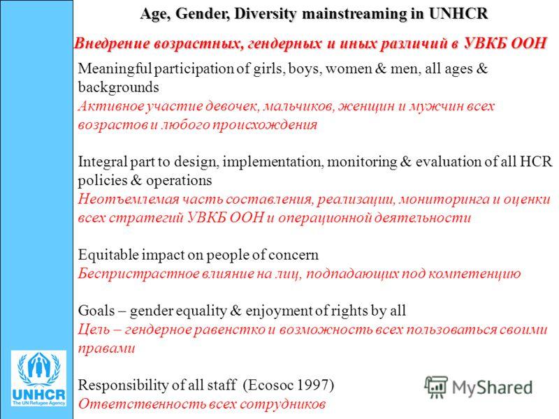 Age, Gender, Diversity mainstreaming in UNHCR Meaningful participation of girls, boys, women & men, all ages & backgrounds Активное участие девочек, мальчиков, женщин и мужчин всех возрастов и любого происхождения Integral part to design, implementat