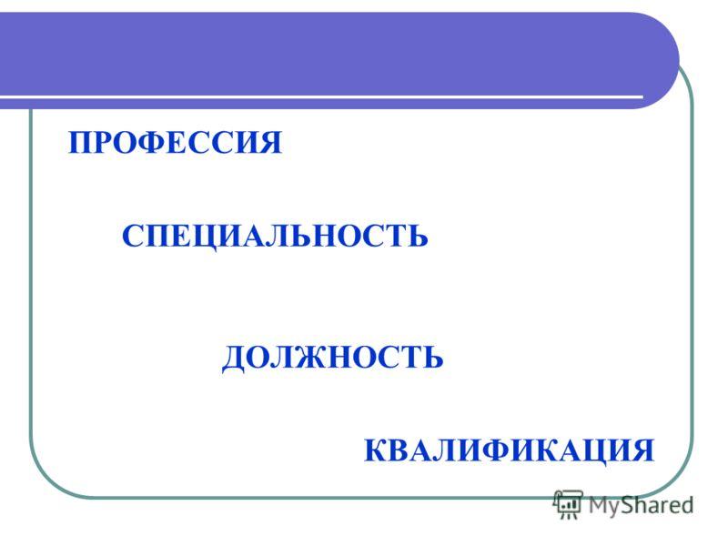 Квалификация профессия специальность