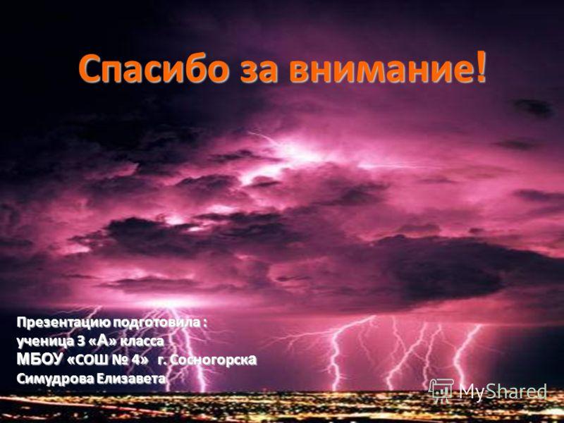 Презентацию подготовила : ученица 3 « А » класса МБОУ « СОШ 4 » г. Сосногорск а Симудрова Елизавета Спасибо за внимание !