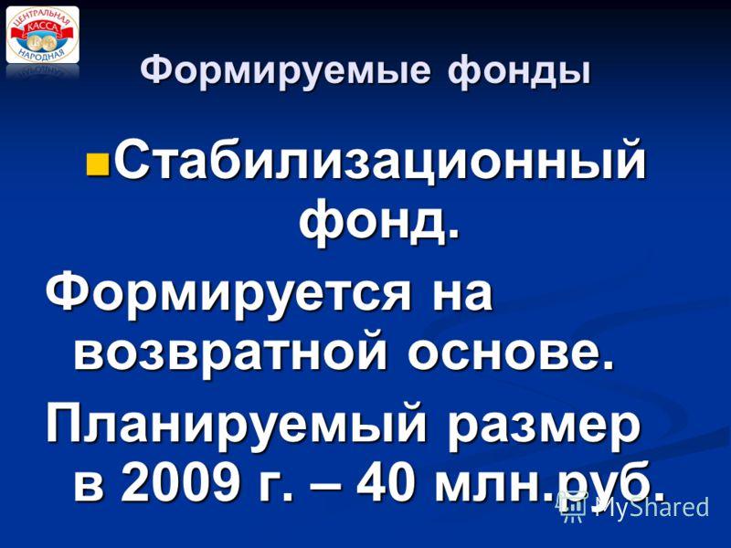 Формируемые фонды Стабилизационный фонд. Стабилизационный фонд. Формируется на возвратной основе. Планируемый размер в 2009 г. – 40 млн.руб.