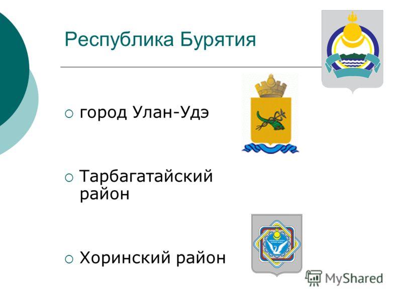 Республика Бурятия город Улан-Удэ Тарбагатайский район Хоринский район