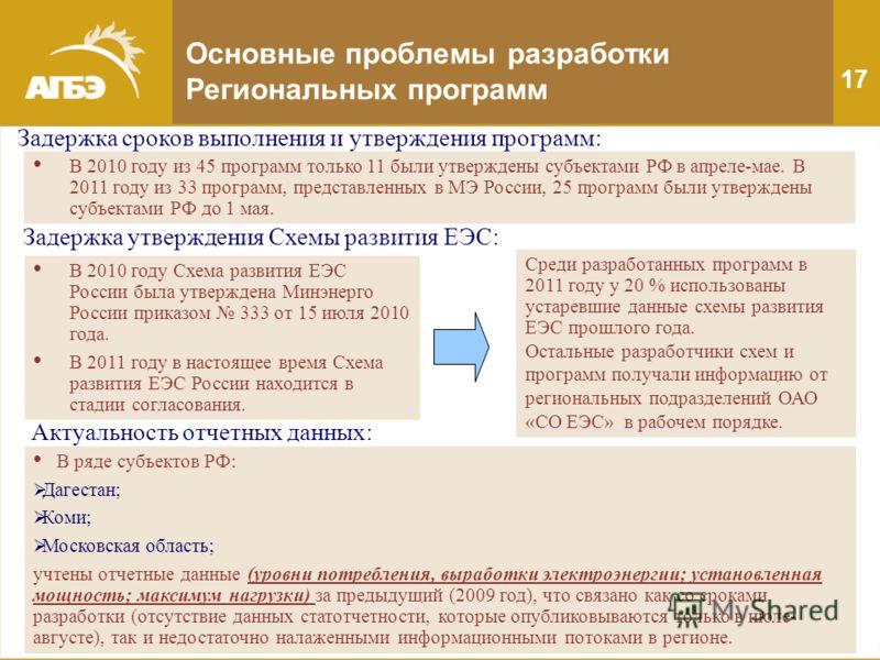 Основные проблемы разработки Региональных программ В 2010 году из 45 программ только 11 были утверждены субъектами РФ в апреле-мае. В 2011 году из 33 программ, представленных в МЭ России, 25 программ были утверждены субъектами РФ до 1 мая. Задержка с