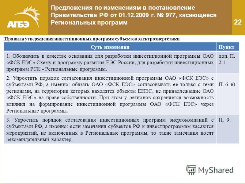 Предложения по изменениям в постановление Правительства РФ от 01.12.2009 г. 977, касающиеся Региональных программ 22 Правила утверждения инвестиционных программ субъектов электроэнергетики Суть измененияПункт 1. Обозначить в качестве основания для ра