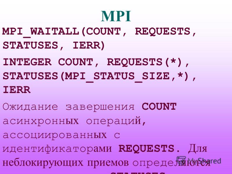 MPI MPI_WAITALL(COUNT, REQUESTS, STATUSES, IERR) INTEGER COUNT, REQUESTS(*), STATUSES(MPI_STATUS_SIZE,*), IERR Ожидание завершения COUNT асинхронн ых операци й, ассоциированн ых с идентификатор ами REQUESTS. Для неблокирующих приемов определ яются па