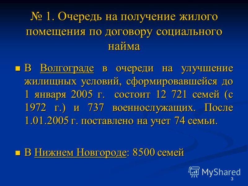3 1. Очередь на получение жилого помещения по договору социального найма 1. Очередь на получение жилого помещения по договору социального найма В Волгограде в очереди на улучшение жилищных условий, сформировавшейся до 1 января 2005 г. состоит 12 721