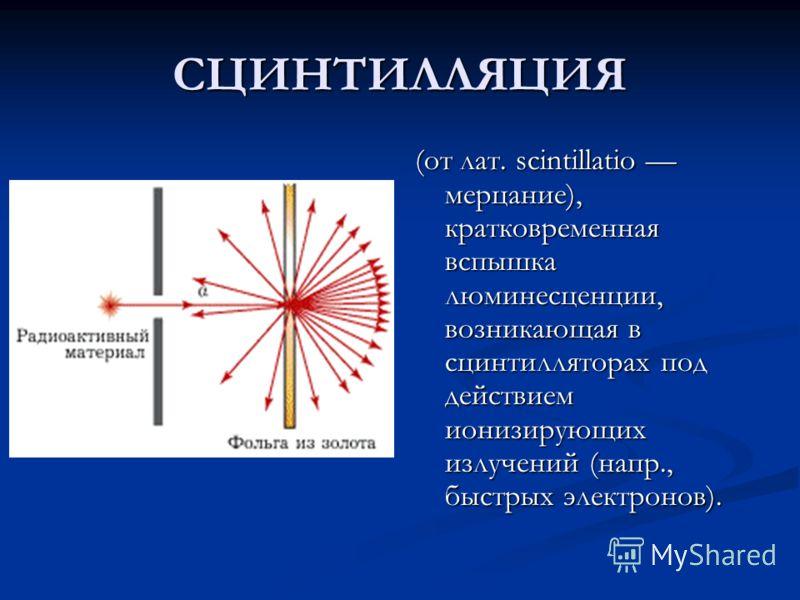 СЦИНТИЛЛЯЦИЯ (от лат. scintillatio мерцание), кратковременная вспышка люминесценции, возникающая в сцинтилляторах под действием ионизирующих излучений (напр., быстрых электронов).