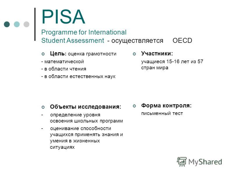 PISA Programme for International Student Assessment - осуществляется OECD Цель : оценка грамотности - математической - в области чтения - в области естественных наук Объекты исследования: - определение уровня освоения школьных программ - оценивание с