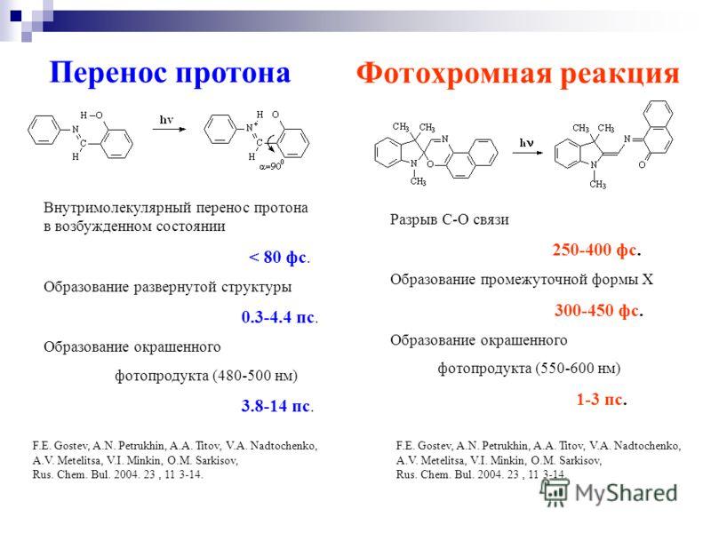Фотохромная реакция Перенос протона Разрыв С-О связи 250-400 фс. Образование промежуточной формы Х 300-450 фс. Образование окрашенного фотопродукта (550-600 нм) 1-3 пс. Внутримолекулярный перенос протона в возбужденном состоянии < 80 фс. Образование