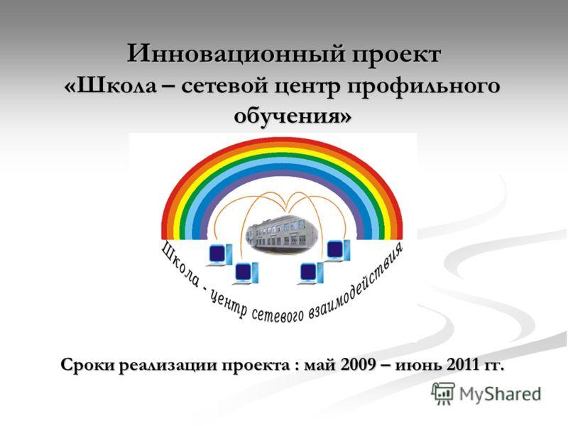 Инновационный проект «Школа – сетевой центр профильного обучения» Сроки реализации проекта : май 2009 – июнь 2011 гг.