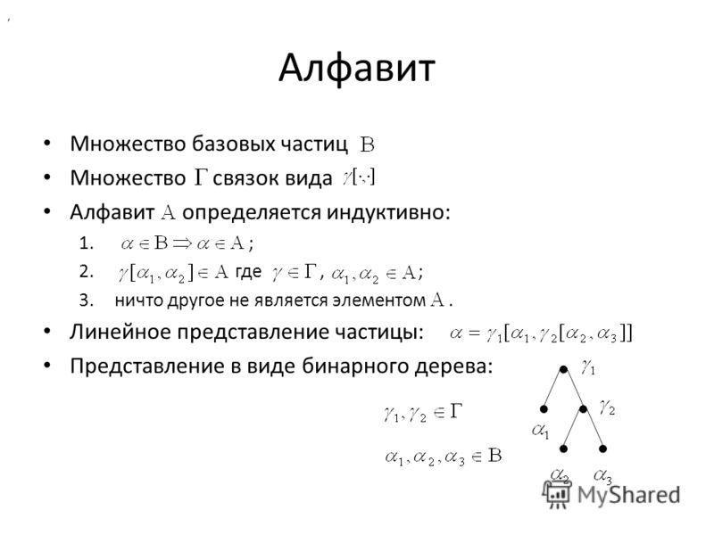 Алфавит Множество базовых частиц Множество связок вида Алфавит определяется индуктивно: 1. ; 2. где, ; 3.ничто другое не является элементом. Линейное представление частицы: Представление в виде бинарного дерева:,