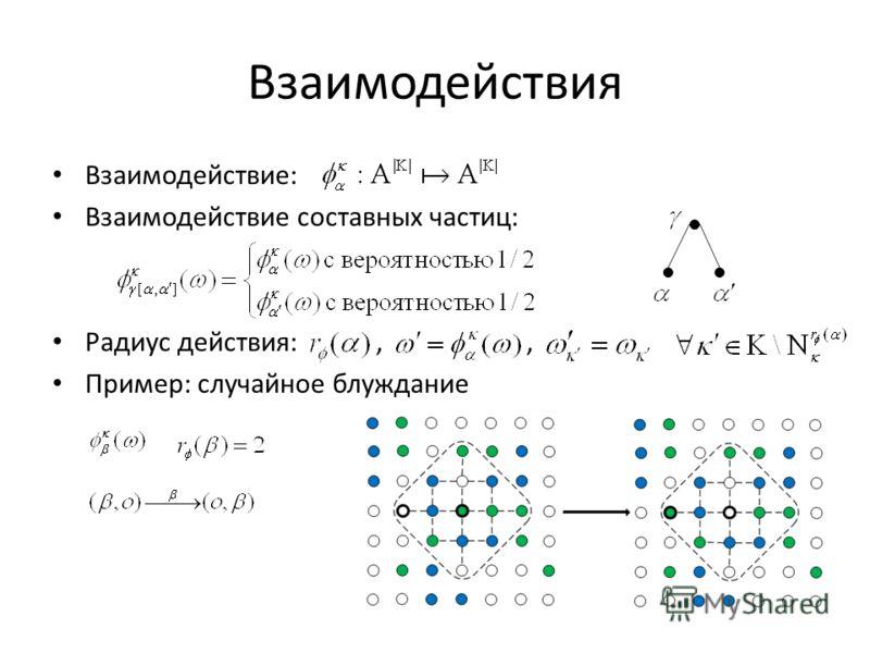 Взаимодействия Взаимодействие: Взаимодействие составных частиц: Радиус действия:,, Пример: случайное блуждание