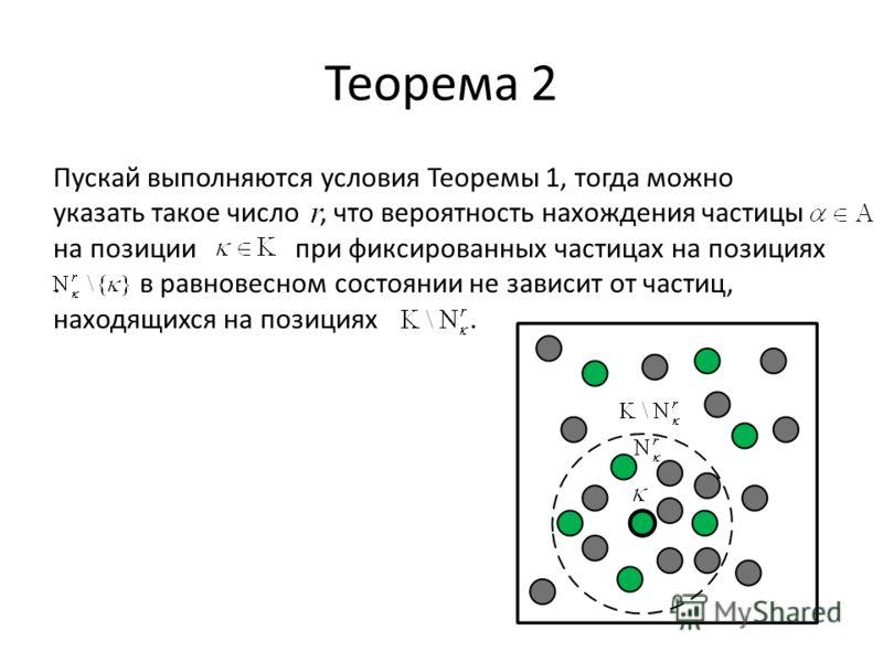 Теорема 2 Пускай выполняются условия Теоремы 1, тогда можно указать такое число, что вероятность нахождения частицы на позиции при фиксированных частицах на позициях. в равновесном состоянии не зависит от частиц, находящихся на позициях.