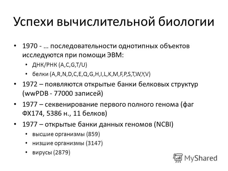 Успехи вычислительной биологии 1970 - … последовательности однотипных объектов исследуются при помощи ЭВМ: ДНК/РНК (A,C,G,T/U) белки (A,R,N,D,C,E,Q,G,H,I,L,K,M,F,P,S,T,W,Y,V) 1972 – появляются открытые банки белковых структур (wwPDB - 77000 записей)