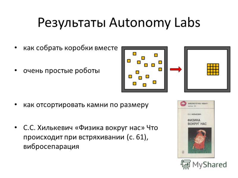 Результаты Autonomy Labs как собрать коробки вместе очень простые роботы как отсортировать камни по размеру С.С. Хилькевич «Физика вокруг нас» Что происходит при встряхивании (с. 61), вибросепарация