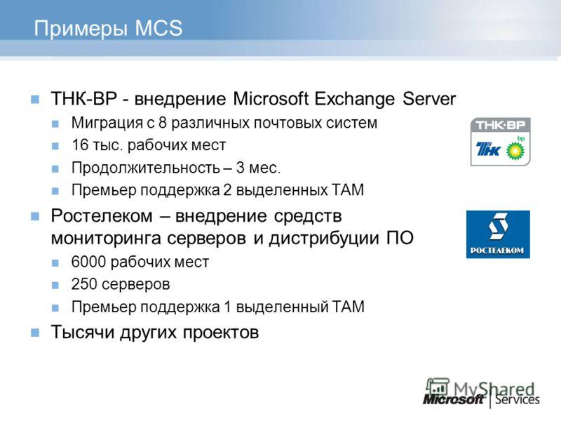 Примеры MCS ТНК-BP - внедрение Microsoft Exchange Server Миграция с 8 различных почтовых систем 16 тыс. рабочих мест Продолжительность – 3 мес. Премьер поддержка 2 выделенных ТАМ Ростелеком – внедрение средств мониторинга серверов и дистрибуции ПО 60