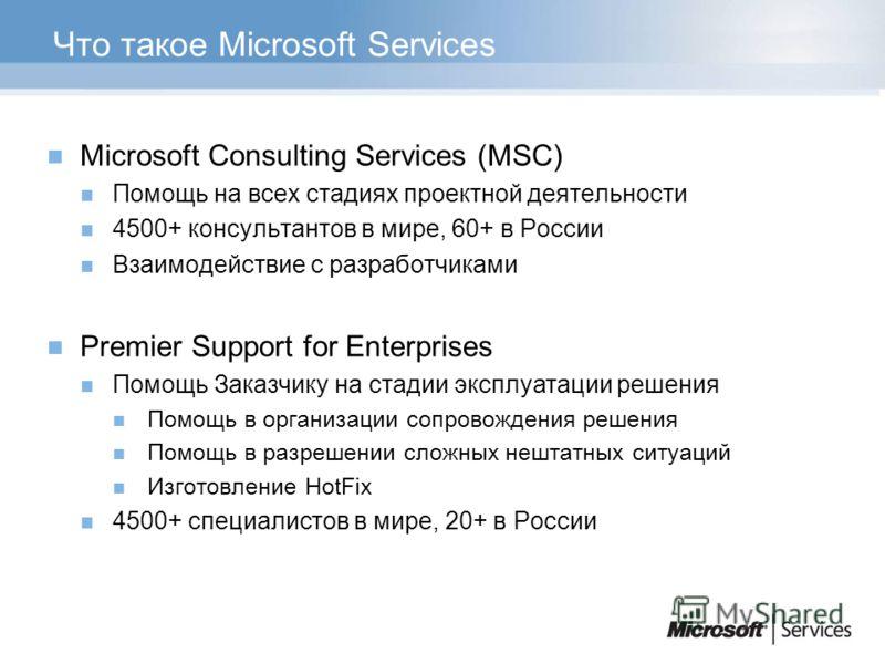 Что такое Microsoft Services Microsoft Consulting Services (MSC) Помощь на всех стадиях проектной деятельности 4500+ консультантов в мире, 60+ в России Взаимодействие с разработчиками Premier Support for Enterprises Помощь Заказчику на стадии эксплуа
