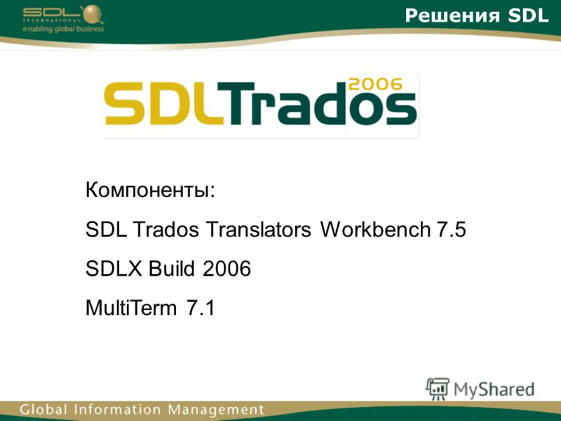Решения SDL Компоненты: SDL Trados Translators Workbench 7.5 SDLX Build 2006 MultiTerm 7.1