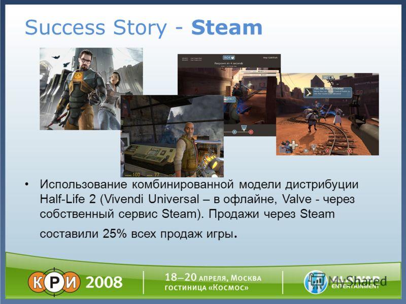 Success Story - Steam Использование комбинированной модели дистрибуции Half-Life 2 (Vivendi Universal – в офлайне, Valve - через собственный сервис Steam). Продажи через Steam составили 25% всех продаж игры.