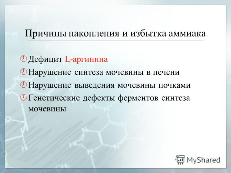 Причины накопления и избытка аммиака Дефицит L-аргинина Нарушение синтеза мочевины в печени Нарушение выведения мочевины почками Генетические дефекты ферментов синтеза мочевины