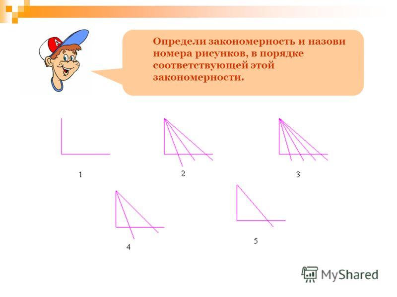 Определи закономерность и назови номера рисунков, в порядке соответствующей этой закономерности.