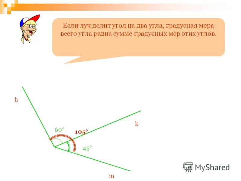 Если луч делит угол на два угла, градусная мера всего угла равна сумме градусных мер этих углов. h k m 60° 45° 105°