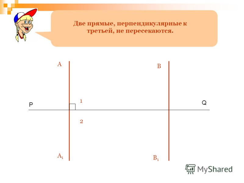 Две прямые, перпендикулярные к третьей, не пересекаются. P Q A A1A1 В1В1 В 1 2