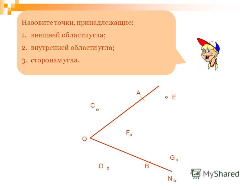 Назовите точки, принадлежащие: 1.внешней области угла; 2.внутренней области угла; 3.сторонам угла. О А В C F D E G N