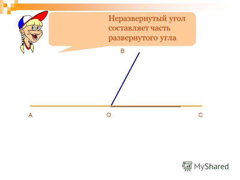 Неразвернутый угол составляет часть развернутого угла АОС В