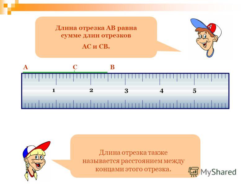 12345 Длина отрезка АВ равна сумме длин отрезков АС и СВ. АВС Длина отрезка также называется расстоянием между концами этого отрезка.