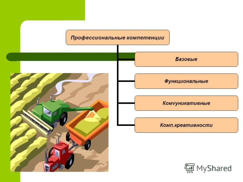 Профессиональные компетенции Базовые Функциональные Комvуникативные Комп.креативности