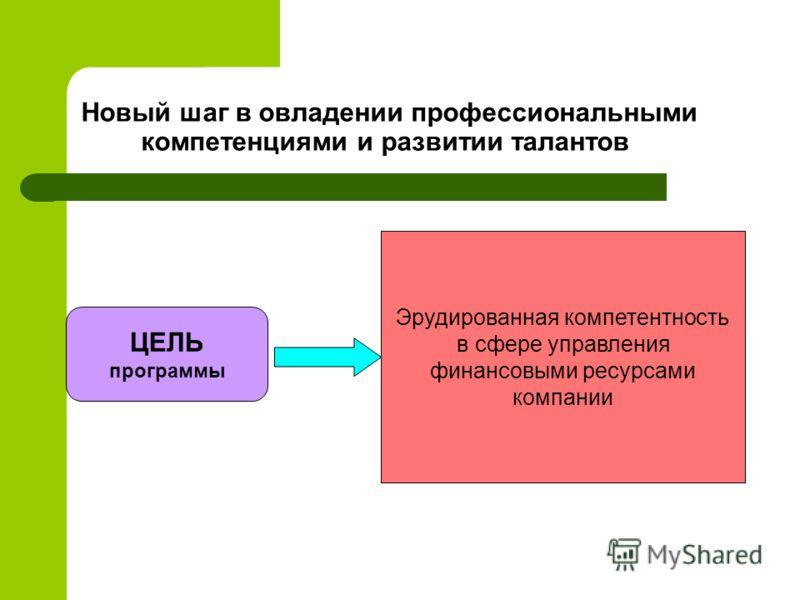 Новый шаг в овладении профессиональными компетенциями и развитии талантов ЦЕЛЬ программы Эрудированная компетентность в сфере управления финансовыми ресурсами компании