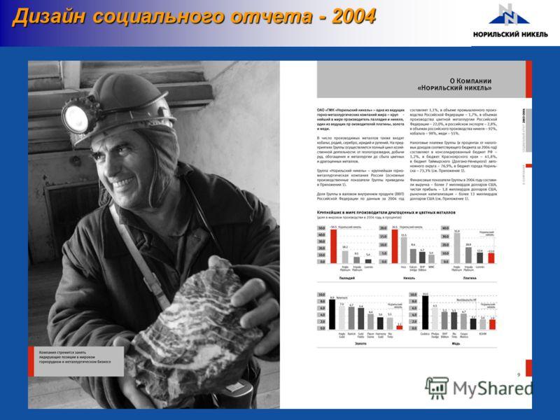 Дизайн социального отчета - 2004 Дизайн социального отчета - 2004