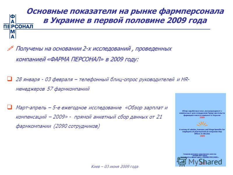 Киев – 03 июня 2009 года Получены на основании 2-х исследований, проведенных компанией «ФАРМА ПЕРСОНАЛ» в 2009 году: Получены на основании 2-х исследований, проведенных компанией «ФАРМА ПЕРСОНАЛ» в 2009 году: 28 января - 03 февраля – телефонный блиц-
