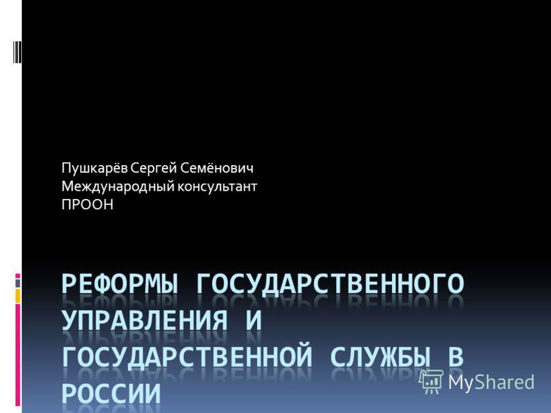 Пушкарёв Сергей Семёнович Международный консультант ПРООН