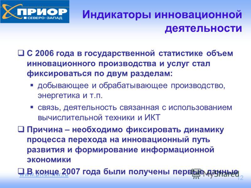 www.prior.nw.ru 12 Индикаторы инновационной деятельности С 2006 года в государственной статистике объем инновационного производства и услуг стал фиксироваться по двум разделам: добывающее и обрабатывающее производство, энергетика и т.п. связь, деятел