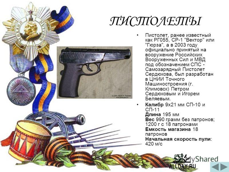 ПИСТОЛЕТЫ Пистолет, ранее известный как РГ055, СР-1