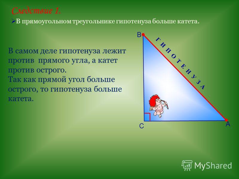 Г И П О Т Е Н У З А Следствие 1. В прямоугольном треугольнике гипотенуза больше катета. А В С В самом деле гипотенуза лежит против прямого угла, а катет против острого. Так как прямой угол больше острого, то гипотенуза больше катета.