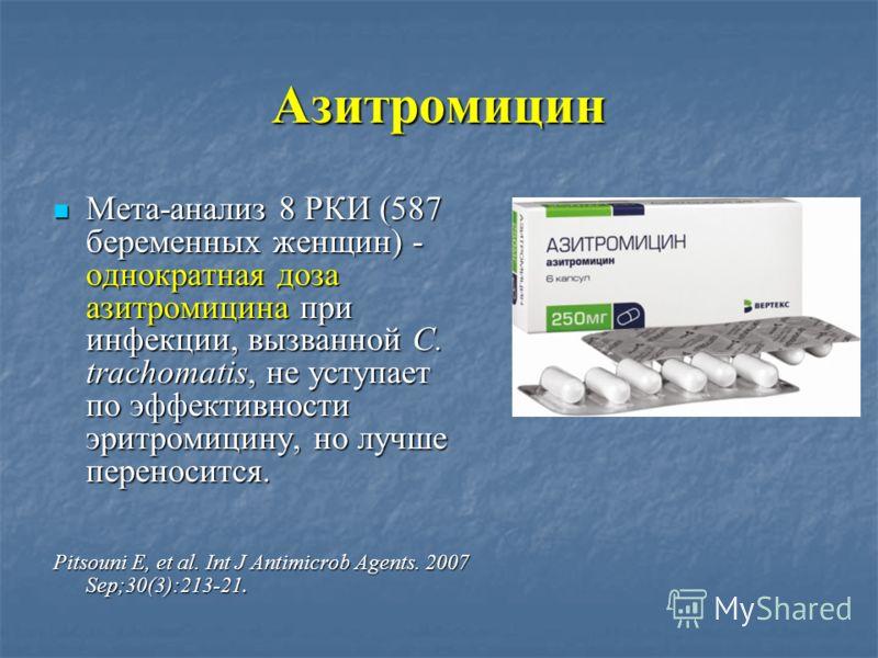 Азитромицин Мета-анализ 8 РКИ (587 беременных женщин) - однократная доза азитромицина при инфекции, вызванной C. trachomatis, не уступает по эффективности эритромицину, но лучше переносится. Мета-анализ 8 РКИ (587 беременных женщин) - однократная доз