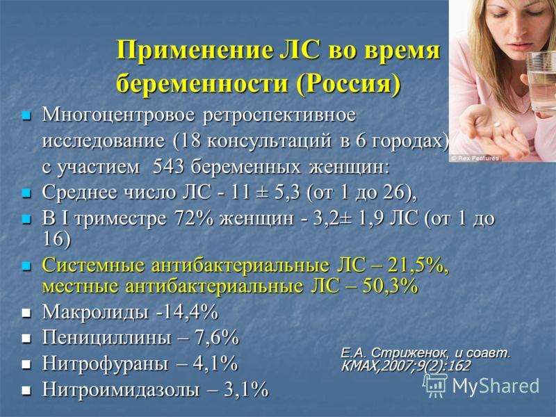 Применение ЛС во время беременности (Россия) Многоцентровое ретроспективное Многоцентровое ретроспективное исследование (18 консультаций в 6 городах) с участием 543 беременных женщин: Среднее число ЛС - 11 ± 5,3 (от 1 до 26), Среднее число ЛС - 11 ±