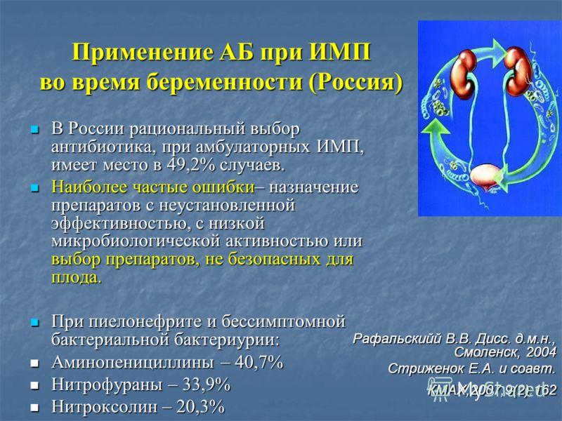 Применение АБ при ИМП во время беременности (Россия) В России рациональный выбор антибиотика, при амбулаторных ИМП, имеет место в 49,2% случаев. В России рациональный выбор антибиотика, при амбулаторных ИМП, имеет место в 49,2% случаев. Наиболее част