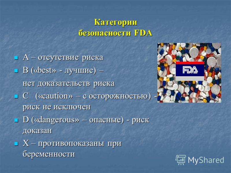 Категории безопасности FDA А – отсутствие риска А – отсутствие риска В («best» - лучшие) – В («best» - лучшие) – нет доказательств риска С («caution» – c осторожностью) - риск не исключен С («caution» – c осторожностью) - риск не исключен D («dangero