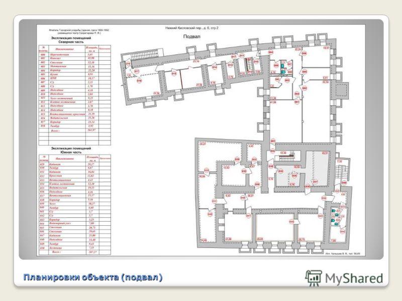 Планировки объекта (подвал)