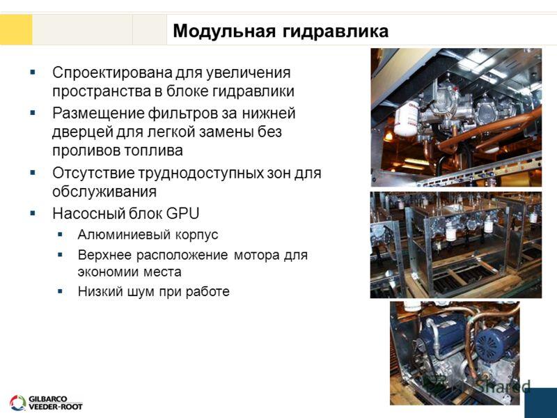 Модульная гидравлика Спроектирована для увеличения пространства в блоке гидравлики Размещение фильтров за нижней дверцей для легкой замены без проливов топлива Отсутствие труднодоступных зон для обслуживания Насосный блок GPU Алюминиевый корпус Верхн