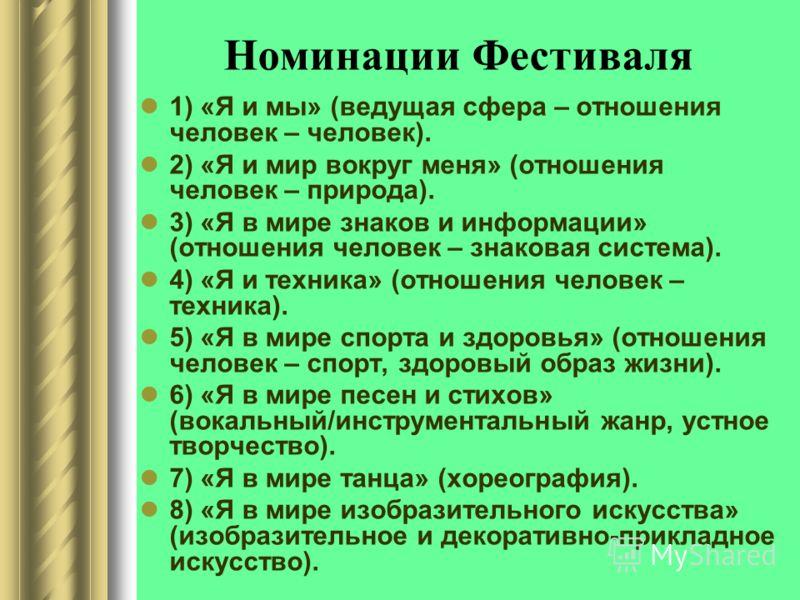 Номинации Фестиваля 1) «Я и мы» (ведущая сфера – отношения человек – человек). 2) «Я и мир вокруг меня» (отношения человек – природа). 3) «Я в мире знаков и информации» (отношения человек – знаковая система). 4) «Я и техника» (отношения человек – тех