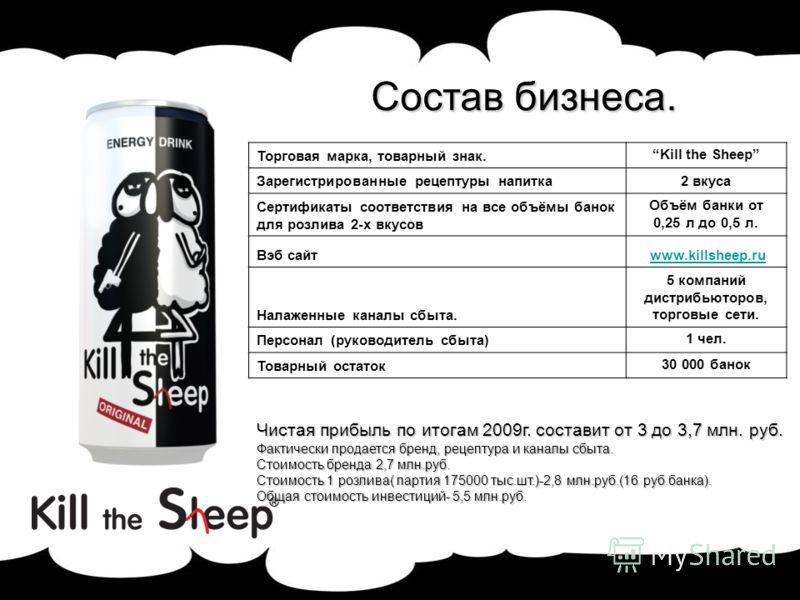 Состав бизнеса. Торговая марка, товарный знак.Kill the Sheep Зарегистрированные рецептуры напитка2 вкуса Сертификаты соответствия на все объёмы банок для розлива 2-х вкусов Объём банки от 0,25 л до 0,5 л. Вэб сайт www.killsheep.ru Налаженные каналы с